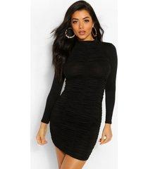geplooide mini jurk met hoge hals, zwart