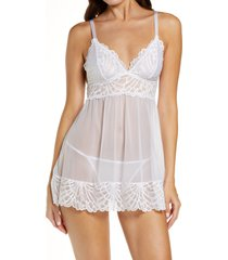 black bow sarah lace babydoll chemise, size large in white at nordstrom