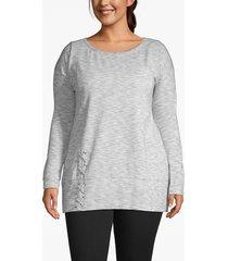 lane bryant women's active lace-up hem sweatshirt 26/28 gardenia