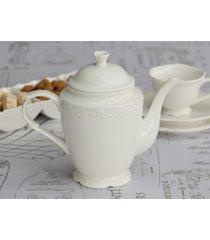 dzbanek do herbaty porcelana tłoczony