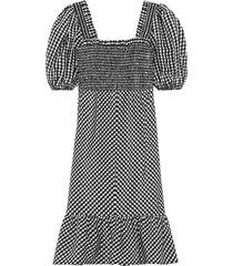 checkered seersucker shirred midi dress