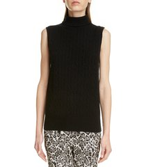 women's erdem sleeveless cashmere turtleneck sweater, size medium - black
