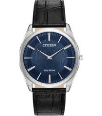 citizen eco-drive men's stiletto black leather strap watch 38mm