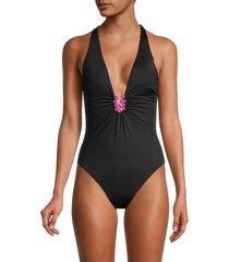 trina turk women's bijou plunge-neck one-piece swimsuit - sapphire - size 4