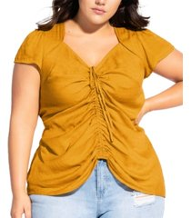 city chic trendy plus size sweet gathered top