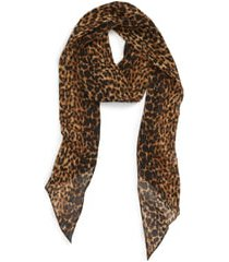 women's saint laurent random skinny wool scarf, size one size - brown
