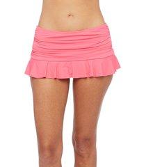 women's la blanca skirted bikini bottoms, size 8 - pink