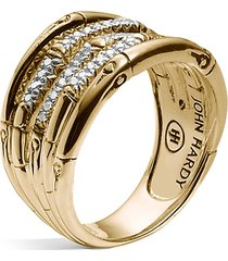 'bamboo' diamond 18k yellow gold ring