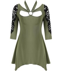 lace panel o ring handkerchief halter plus size top
