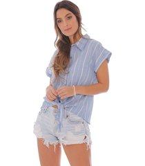 camisa con rayas azul -mujer