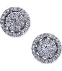 diamond cluster halo stud earrings (1/2 ct. t.w.) in 14k white gold