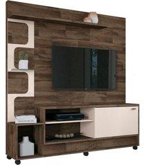 estante home painel para tv até 50 pol. palace deck/off white - hb móveis