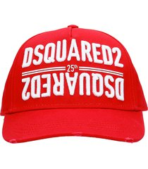 dsquared2 hats in red cotton
