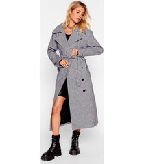 womens moment of houndstooth belted trench coat - black