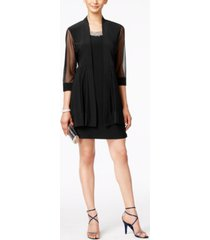 r & m richards embellished dress and illusion duster jacket