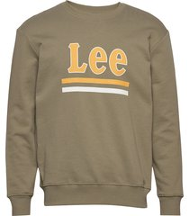 lee stripe sws sweat-shirt tröja grön lee jeans