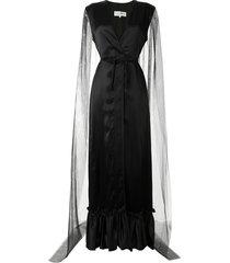 mm6 maison margiela plunge-neck sheer-cape gown - black