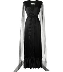 mm6 maison margiela plunge-neck sheer-cape gown - black