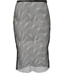ann demeulemeester cashmere sheer mesh midi skirt - black