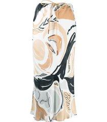 alysi swan rhapsody-print silk skirt - white