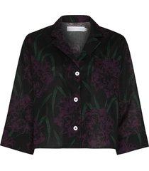 desmond & dempsey narcissus boxy pajama shirt - black