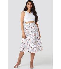 na-kd button up midi skirt - white