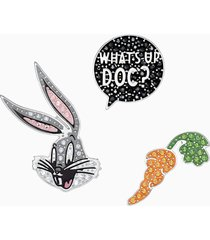 set di pin da cravatta looney tunes bugs bunny, multicolore, placcatura rodio