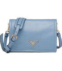 prada medium triangle-patch shoulder bag - blue