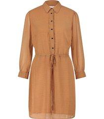 jurk met hartjesprint en trekkoord bridget  bruin