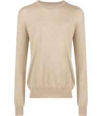 maison margiela elbow patch sweater - brown