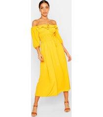 off shoulder smocked waist maxi dress, mustard