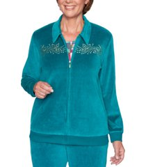 alfred dunner petite bright idea beaded velour jacket