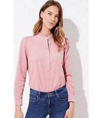 loft ruffle henley corduroy blouse