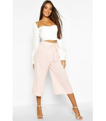 basic tie waist woven crepe culottes, nude