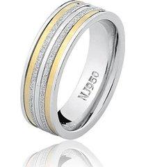aliança feminina natalia joias prata 925 anatômica com filete de ouro