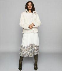 reiss isidora print - pleated midi skirt in white, womens, size 10