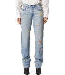 hudson women's thalia extreme loose-fit floral jeans - cherish - size 27 (4)