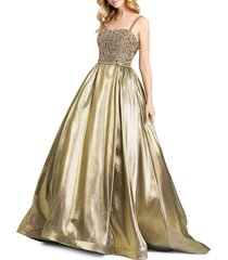mac duggal women's embellished ball gown - gold - size 14
