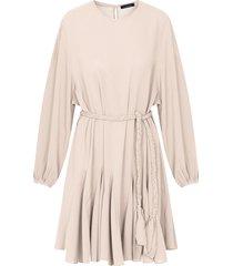 jurk met plooien beige