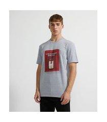 camiseta manga curta em algodão estampa cerveja | blue steel | cinza médio | p