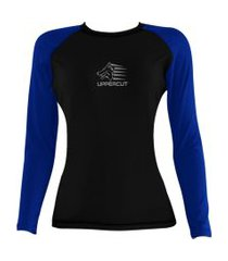 rash guard feminina uppercut  lycra proteção uv 50+ preta e azul