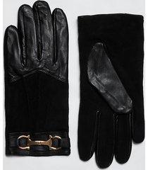 river island womens black leather ri gloves