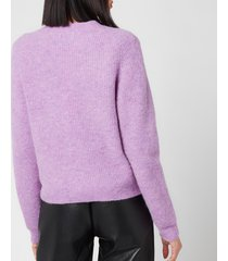 ganni women's soft wool knit cardigan - pastel lilac - l