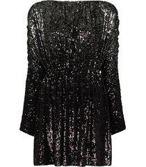 saint laurent ombre sequinned babydoll dress - black