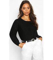 boxy scoop neck sweater, black