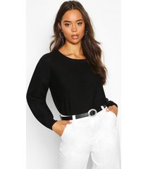 boxy scoop neck sweater, black