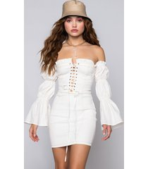akira given the chance lace up off the shoulder mini dress