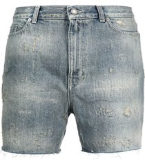 saint laurent faded distressed denim shorts
