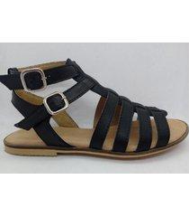 sandalia de cuero negra abryl calzados