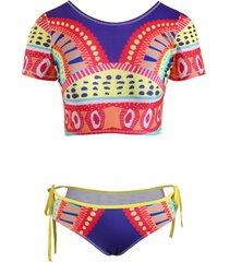 aztec pattern cutout tie crop tankini swimwear